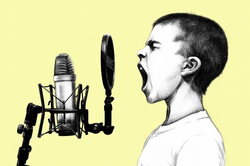 boy microphone scream