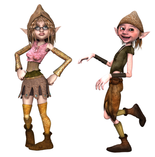 boy and girl elf pose