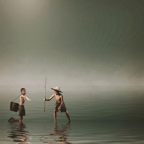 boys fishing spear