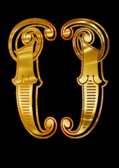 brackets alphabet gold