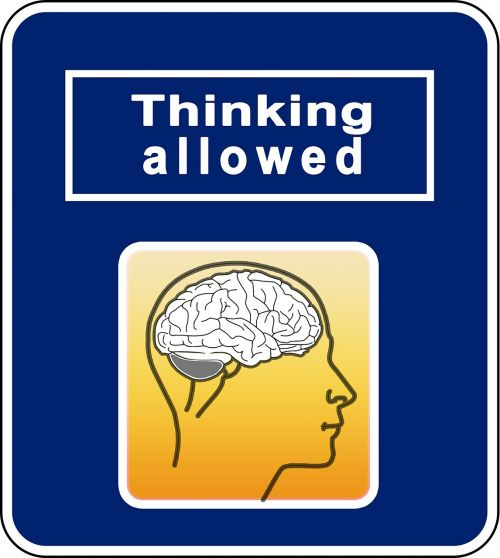 brainstorming think road sign