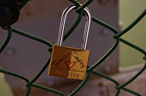 brass and steel love lock  love  padlock