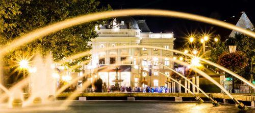 bratislava theatre in the evening