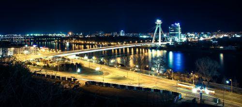 bratislava bridge in the evening