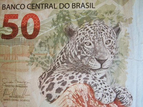 brazilian currency fifty real touch banknote