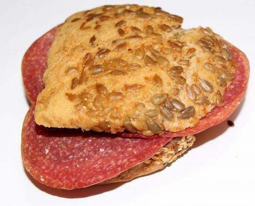 bread sandwich salami bread