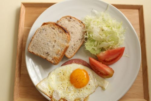 breakfast brown rice bread fried egg