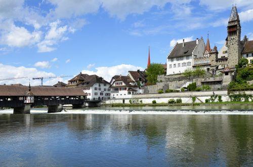 bremgarten reuss front wooden bridge