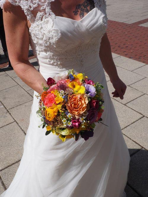 bridal bouquet bride dress