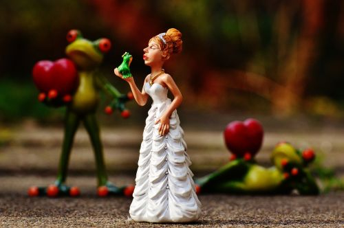 bride kiss the frog love