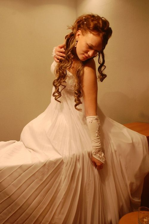 bride white dress bridesmaid dress