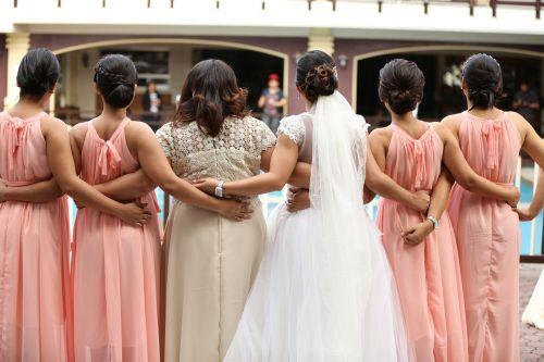 bride bridesmaid wedding