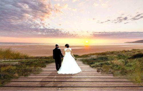 bride and groom pair bride