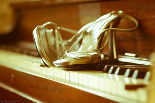 Bride Shoes On Piano