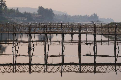 bridge wooden bridge bamboo bridge