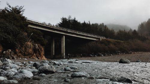 tiltas,pylimas,upelis,srautas,akmenys,uolingas,migla,rūkas,Nuotolinis,tyrinėti,tyrinėti,parama,statyba,infrastruktūra