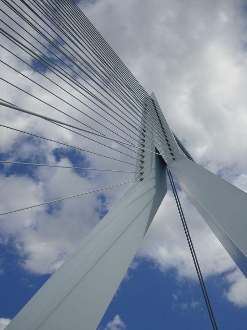 erasmus bridge clouds sky