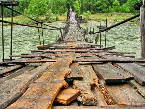 bridge,footbridge,wooden bridge,mountains,river,altai,russia,river chulyshman river,hdr