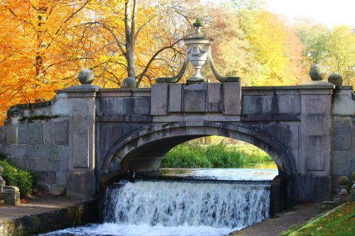 bridge waterfall autumn