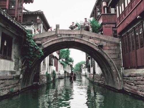 bridge,water,china,river,travel,scenery,people,gondola