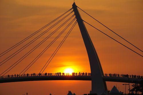 bridge sunset city