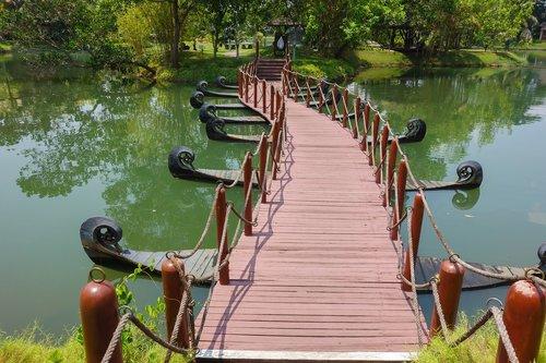 bridge  wooden bridge  greenery