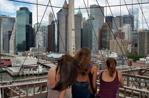 bridge,manhattan,brooklyn,new york,architecture,downtown,view,skyscraper,york,city,building,skyline,river,water,sky,blue,clouds,town,tourism,construction,woman,girls