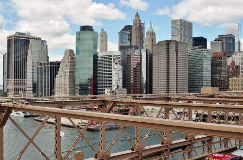 bridge,manhattan,brooklyn,new york,architecture,downtown,view,skyscraper,york,city,building,skyline,river,water,sky,blue,clouds,town,tourism,construction