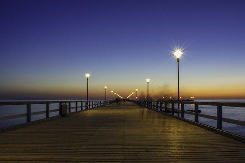 bridge  sunset  sea