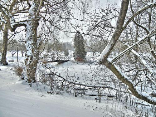 bridge winter scenery canada