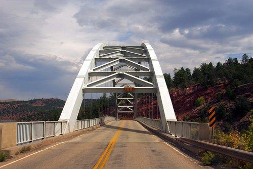 bridge at flaming gorge  bridge  lake