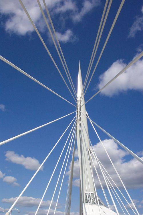 tiltas, struktūra, fonas, dangus, balta, mėlynas, tilto struktūra