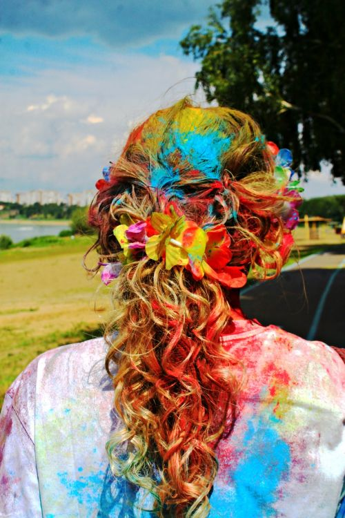 bright hair paint holi festival of colors