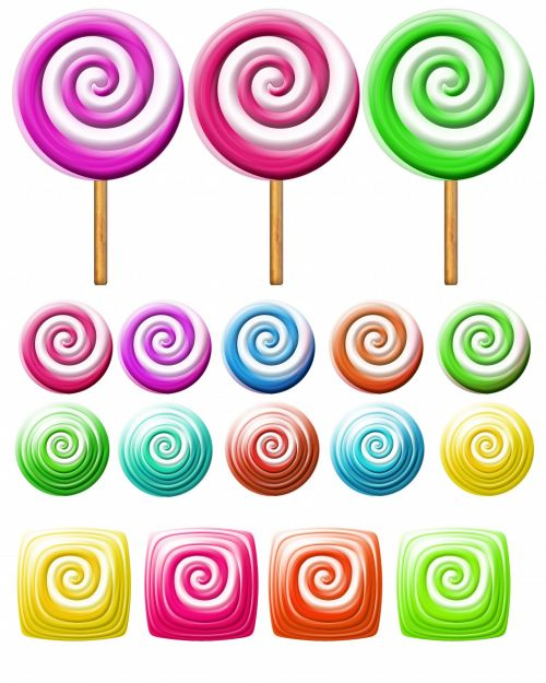 Bright Lollipops Icons Clipart