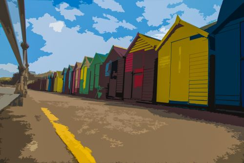 Brightly Colored Dressing Huts