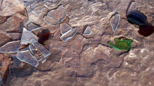 Broken Glass In Desert Rock