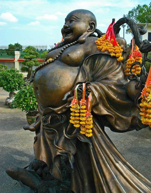 bronze statue buddah fat belly
