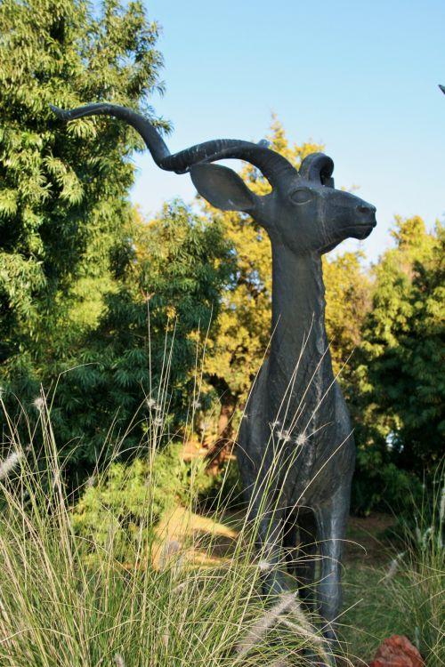 Bronze Statue Of Kudu In Garden