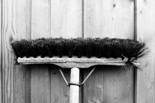 broom wooden wall wall