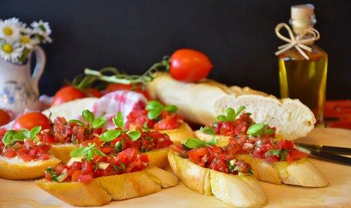 bruschetta  bread  baguette