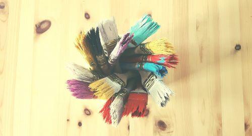 šepečiai,šepetys,dažymas,menas,fonas,spalvos,paletė,dažyti,spalvos,nuotraukų galerija,mediena,spalva