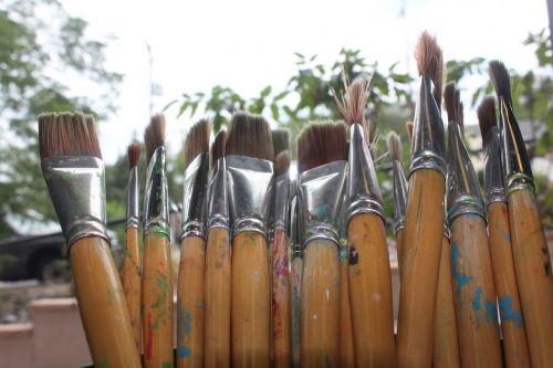 šepečiai,dažyti,menas,menininkas,reikmenys
