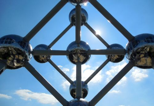 brussels atomium from the bottom