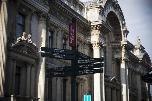 brussels belgium signpost