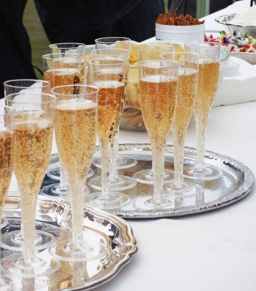 bubbler champagne silver tray
