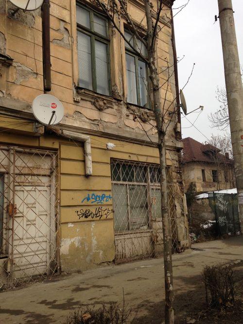 bucharest building demolished satellite dish