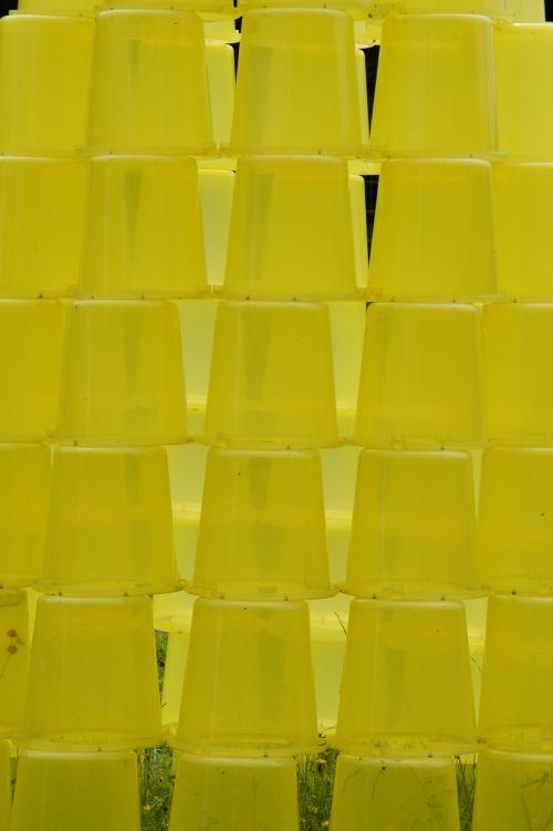 bucket stacked yellow