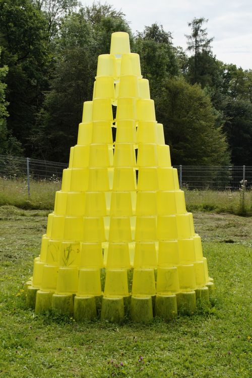 bucket stacked yellow