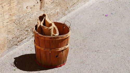 bucket  vintage  wooden bucket