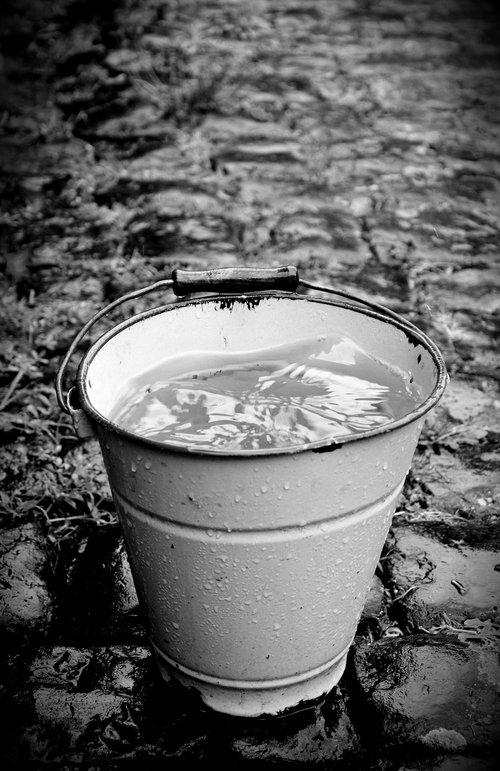 bucket  wet  rain